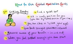 The first of 6 Guided Meditation Cards (a variation of Pebble Meditation)